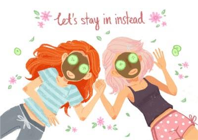 Pink Daisies Lets Stay In Instead Card