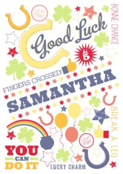 Colourful Horseshoes Personalised Good Luck Card