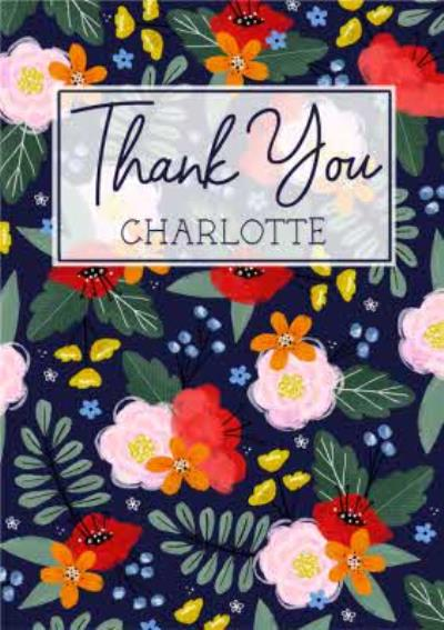 Traditional Illustrated Floral Thank You Card