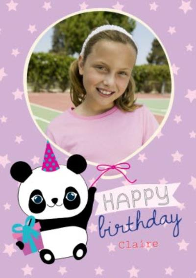 Cartoon Panda Personalised Happy Birthday Card
