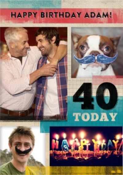 Happy 40th Birthday Card - Photo Birthday Card For Men