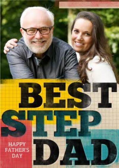 Colourful Geometric Best Step Dad Photo Card