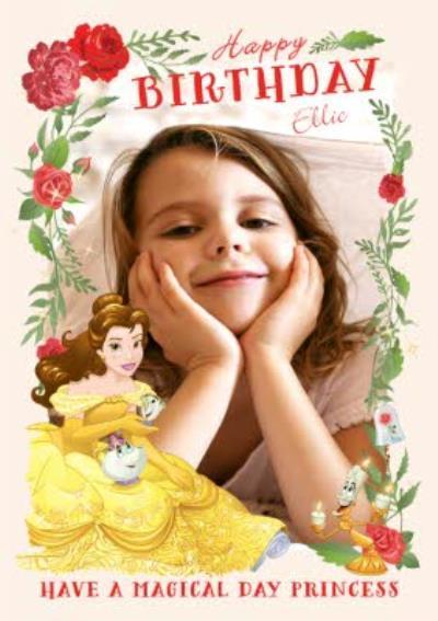 Disney Princess Belle Happy Birthday Photo Card