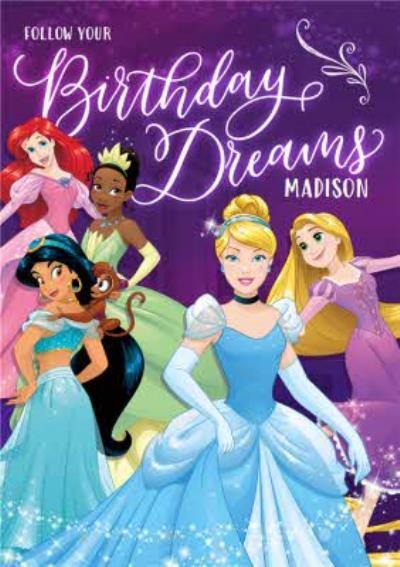 Disney Princess Follow Your Birthday Dreams Card