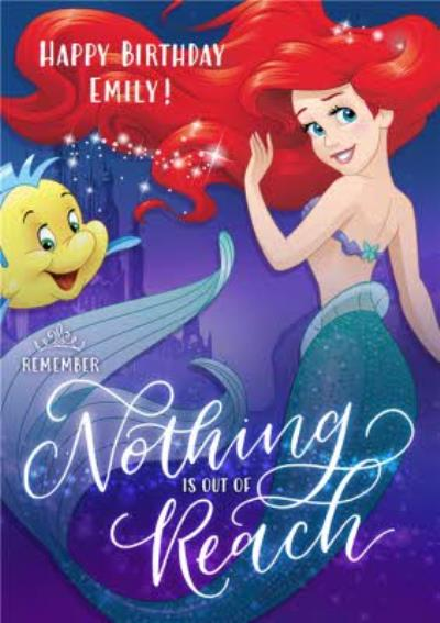 Disney The Little Mermaid Ariel And Flounder Personalised Birthday Card