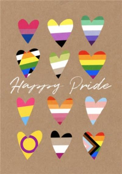 Illustrated Rainbows Love Hearts Happy Pride Flags Card