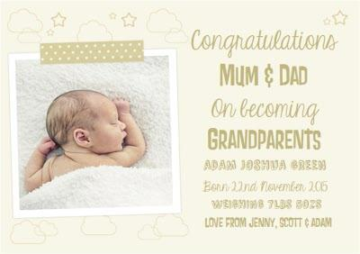 Clouds And Stars Photo Upload Congratulations On Becoming Grandparents Card