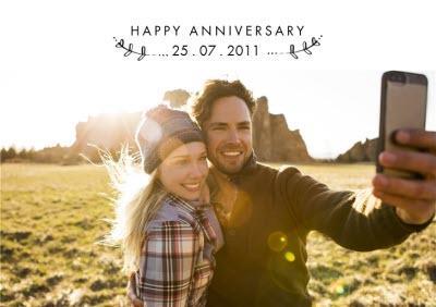 Anniversary Date Photo Upload Postcard
