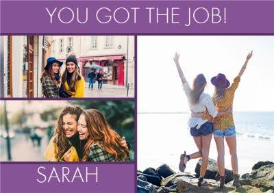 Purple Photo Upload Congrats Card
