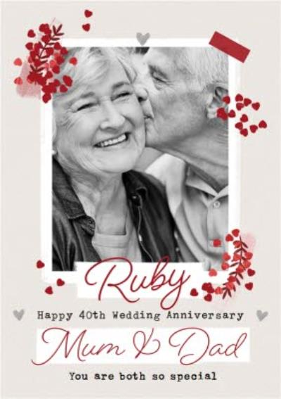 Ruby 40th Anniversary Photo Upload Card for Mum & Dad