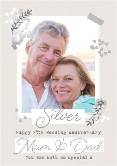 Silver 25th Anniversary Photo Upload Card for Mum & Dad