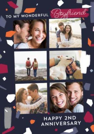 Anniversary photo upload Card - To My Wonderful Boyfriend
