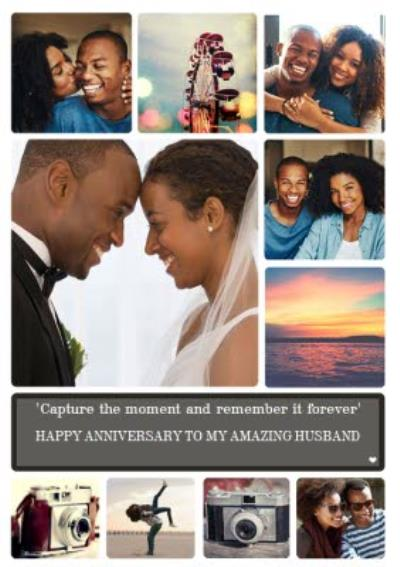 Happy Anniversary photo upload Card To my Amazing Husband