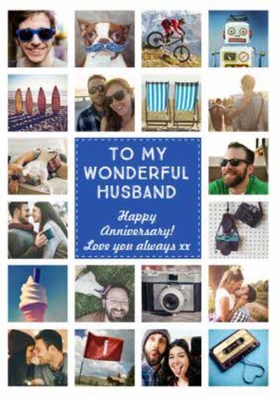 Happy Anniversary photo upload Card To my Wonderful Husband