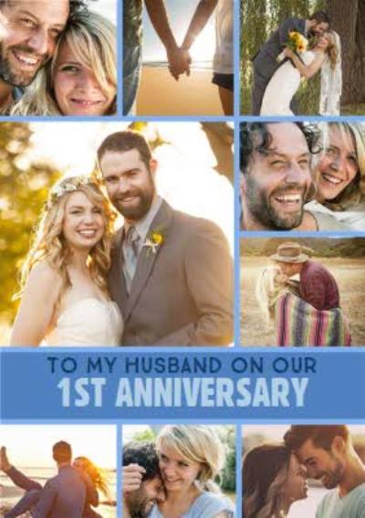 1st Anniversary Photo upload card - To my Husband
