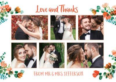 Floral Modern Wedding Card - Wedding Thanks - Love and Thanks - Photo Upload