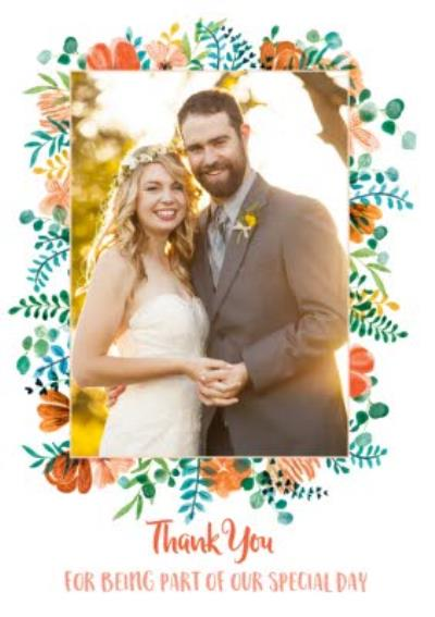 Wedding Card - Wedding Thanks - Special Day - Modern Floral Photo Upload Wedding thank you card