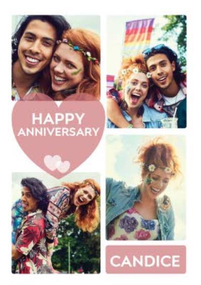 Modern Happy Anniversary Photo Upload Card