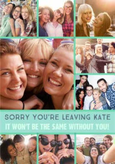 Modern Photo Upload Sorry You're Leaving Card