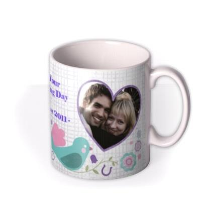 Love Birds, Wedding Bands, and Hearts Photo Upload Mug