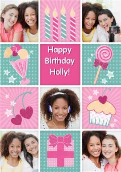 Girly Ice Cream Sundae Grid Personalised Photo Upload Happy Birthday Card