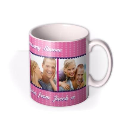 Bright Pink Hearts Photo Strip Personalised Mug