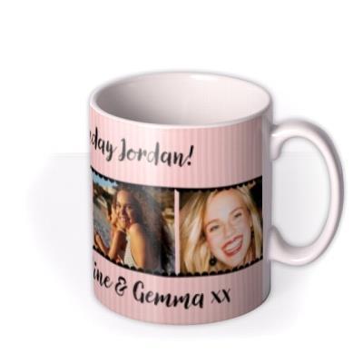 Pink Striped Photo Strip Personalised Mug