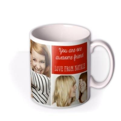 Image Trio Photo Upload and Personalised Text Mug