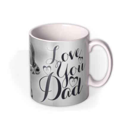 Father's Day Calligraphy Hearts Photo Upload Mug