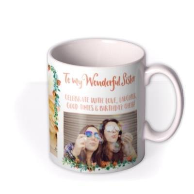 To My Wonderful Sister Typographic Photo Upload Mug