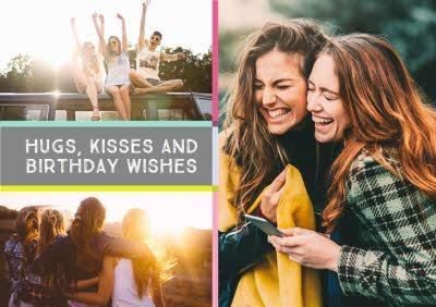 Colourful Grid Multi-Photo And Personalised Text Card