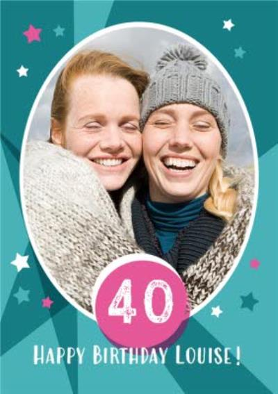 Photo 40th Birthday Cards - Use your own photos to create a customised birthday card
