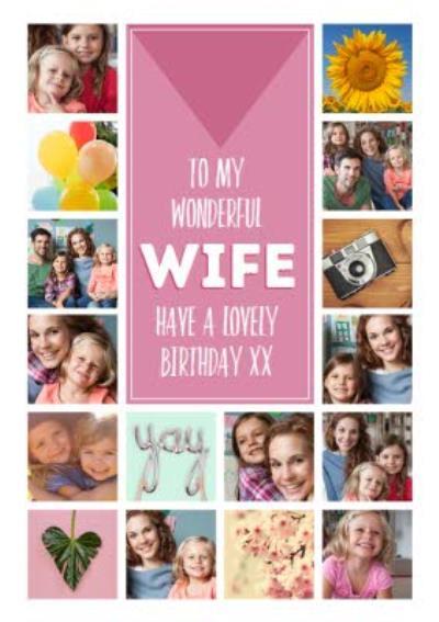 To my wonderful Wife Photo Upload Birthday Card