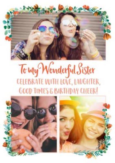 To My Wonderful Sister Photo Upload Birthday Card