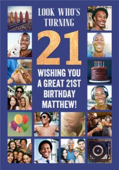 Multiple Photo Upload 21st Birthday Card