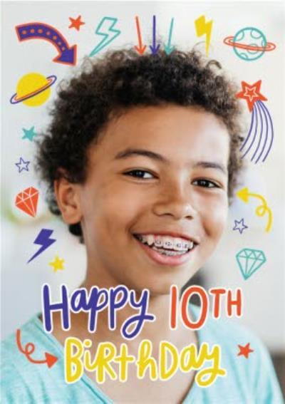 Fun Modern Photo Upload 10th Birthday Card