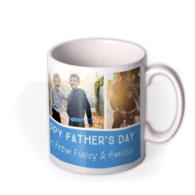 Father's Day Grid Blue Photo Upload Mug