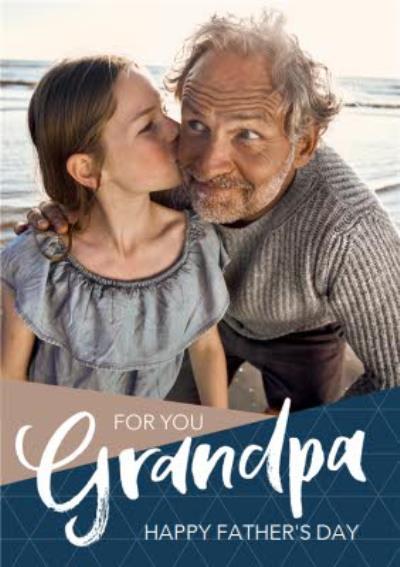 Modern Grandpa Photo Upload Father's Day Card