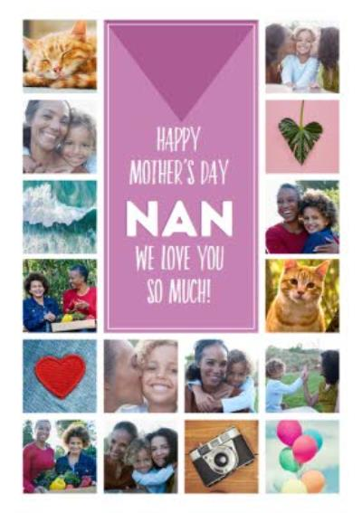 Multi Photo Grid Pattern For Nan Personalised Mother's Day Card