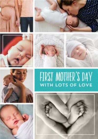 Bright Aqua Multi Photo Happy First Mother's Day Card