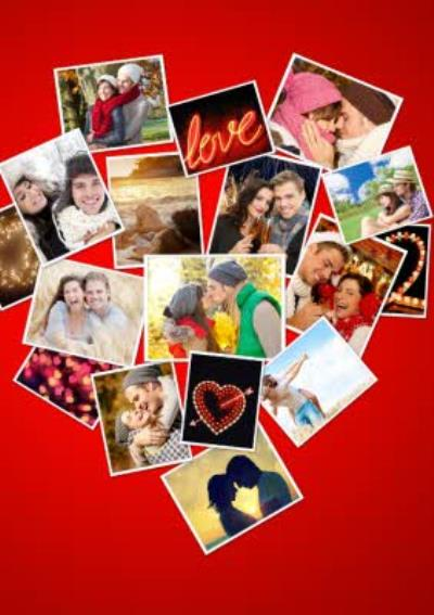 Photo Heart Valentine's Card - Use your own photos to create this heart shaped Valentine's Day photo collage card.