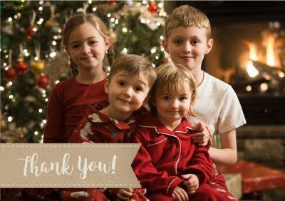 Stitched Ribbon Photo Upload Thank You Christmas Card