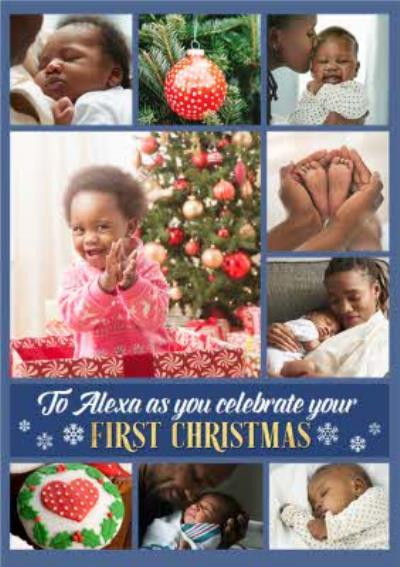 Babies First Christmas Multiple Photo Upload Christmas Card