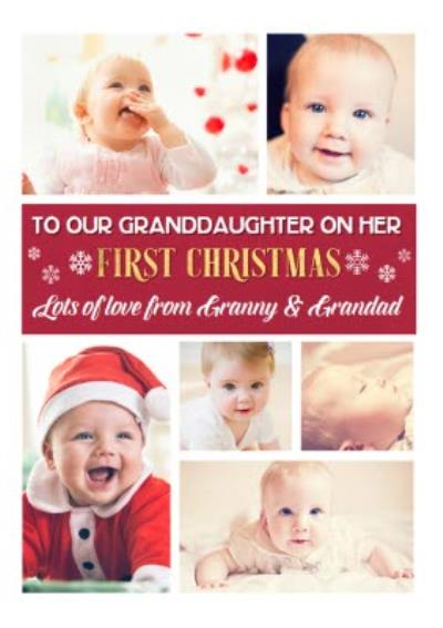 Granddaughters First Christmas Multiple Photo Upload Christmas Card