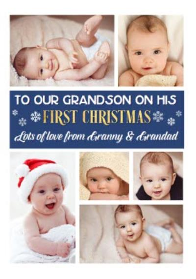 Grandsons First Christmas Multiple Photo Upload Christmas Card