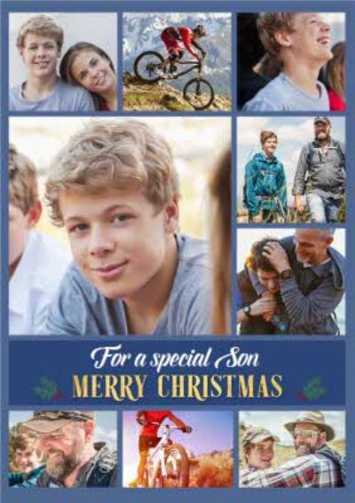 For A Special Son Multiple Photo Upload Christmas Card
