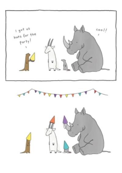 Modern Funny Illustration Animals Friends In Party Hats Birthday Card