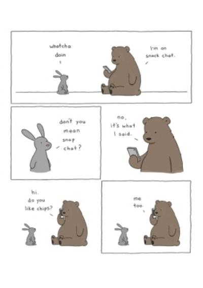 Modern Funny Illustration Bear And Rabbit Snack Chat Card