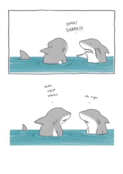 Modern Funny Illustration OMG Shark Card