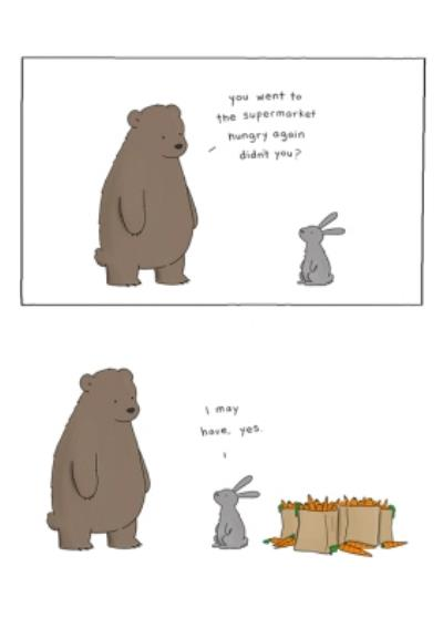 Modern Funny Illustration Bear And Rabbit Went To The Supermarket Hungry Card